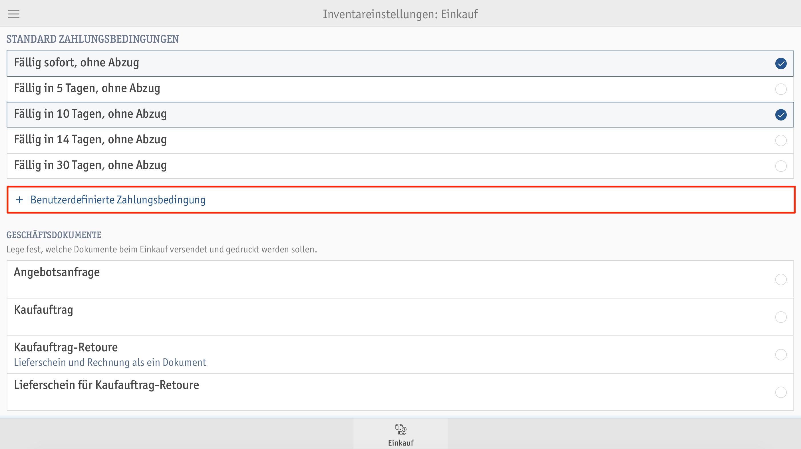 Inventareinstellungen Enforecare Portal